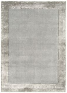 silver wool and viscose rug with a border design