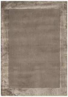 taupe brown wool and viscose rug with a border design