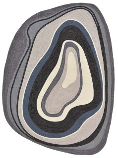 abstract shaped indoor/outdoor rug in grey