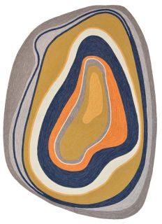 abstract shaped indoor/outdoor rug in ochre and blue