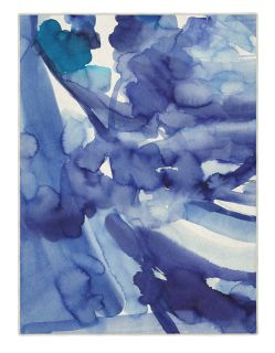 Rectangular Bluebellgray rug with abstract watercolour design in blue