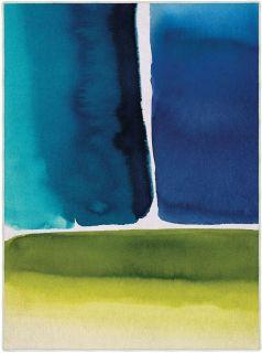 Rectangular Bluebellgray rug with bold watercolour design in blue