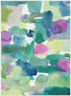 Rectangular Bluebellgray rug with abstract watercolour design in green, blue and pink