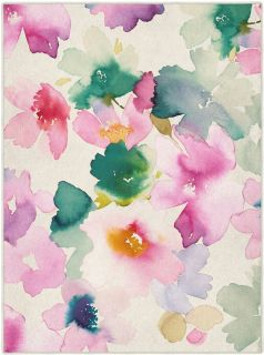 Rectangular Bluebellgray rug with floral watercolour design in pink, green and cream
