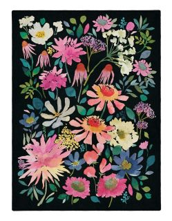 Rectangular Bluebellgray rug with vibrant floral design in multicolour