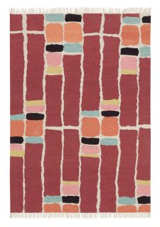 red abstract-geometric brink & campman rug