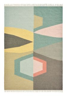 brink and campman flatweave rug with a geometric design in red, blue, yellow and taupe