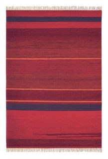brink and campman flatweave rug with a stripe design in red and blue