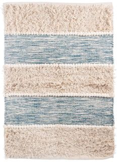 scandi style striped rug in blue and white
