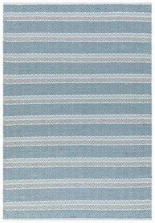 blue indoor/outdoor rug with stripe pattern