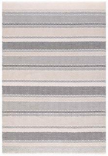 grey indoor/outdoor rug with stripe pattern