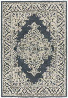 black and grey vintage style rug