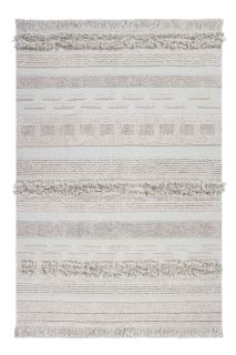 Rectangular natural beige rug decorated with a raised textured stripe pattern