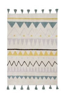 Rectangular natural beige rug with blue, yellow and grey aztec pattern and pink tassel border