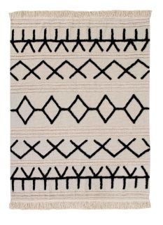 Rectangular beige cotton rug decorated with a black moroccan tribal designs and a fringed border