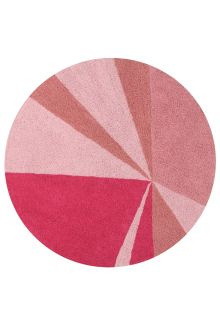 Circular cotton rug with abstract geometric triangle design in pink hues