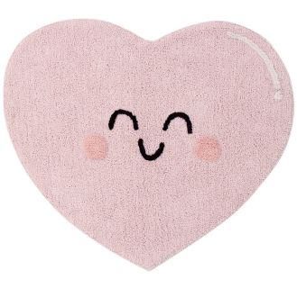 Pink, cotton tufted heart shaped rug