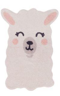Cream, cotton tufted rug shaped as a smiling llama