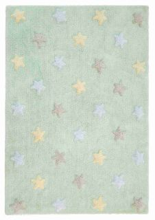 Rectangular mint green rug decorated with grey, blue and cream pastel stars