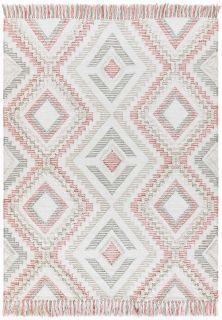 pink and grey indoor/outdoor rug with aztec design