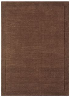 A plain brown rectangle-shaped wool rug with thin border.