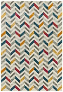 Polypropylene rug with chevron pattern in blue, yellow, red and grey