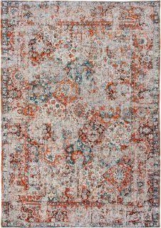 white, blue and orange vintage style rug