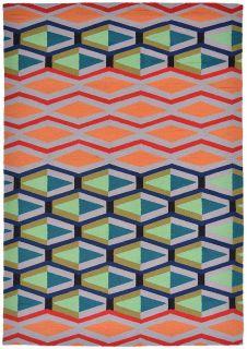 multicolour geometric indoor/outdoor rug