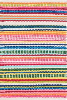 multicolour stripe indoor/outdoor rug