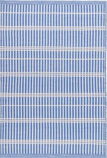 blue and white stripe indoor/outdoor rug