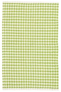 woven cotton rug with green check pattern