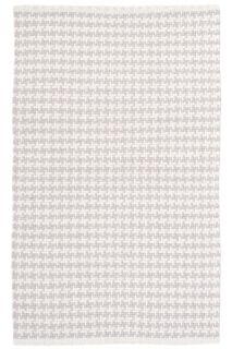 woven cotton rug with grey check pattern