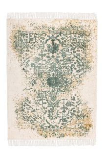 vintage style rug in green, beige and cream