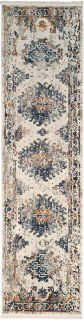 aztec style runner in blue, ceam and rust