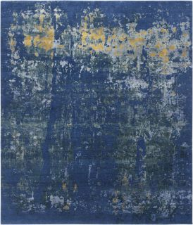 Authentic Indian rug with abstract design in blue and gold