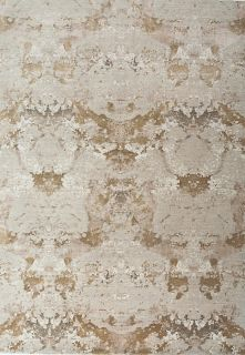 Authentic Indian rug with abstract design in ivory and sand