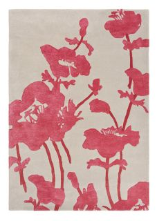 Beige and red floral poppy wool and viscose rug