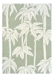 Green and Ivory Wool rug with bamboo design