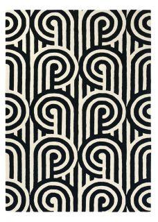 Black and White Geometric Retro Style Wool Rug