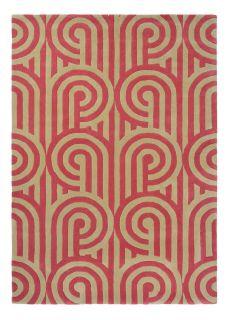 Pink and Beige Geometric Retro Style Wool Rug
