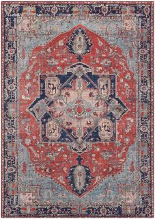 persian style area rug in red and blue