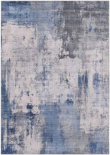 abstract area rug in blue