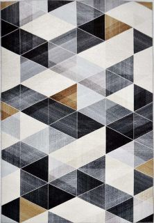 geometric area rug in black, grey and gold