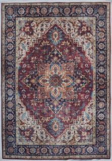 traditional style area rug with Persian inspired design in red and blue