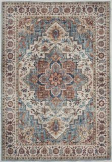 blue and grey area rug with distressed abstract design