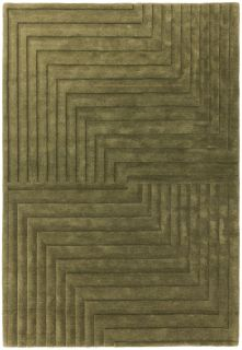 green area rug with a 3d geometric design