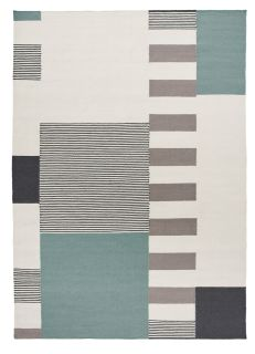 geometric wool rug with green design