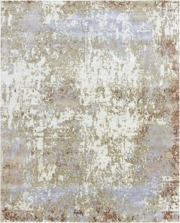 Authentic Indian rug with abstract design in grey