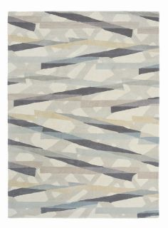 grey wool rug with abstract design in cream, taupe and grey