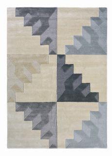 cream and grey geometric wool rug